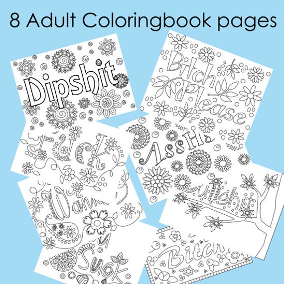 8 Page Swear Word Adult Coloring Book Download Instantly