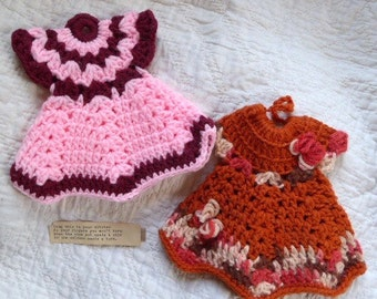 Vintage Hand Crocheted Doll Dress Potholders (1) choose Pink or Sepia