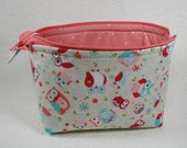 Open Wide Flat Bottom Zipper Pouch... Nested Owls in Coral