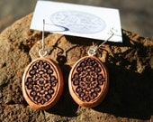 Old Flower Woodcut Design Earrings- in  Juniper,  - Wooden Jewelry,