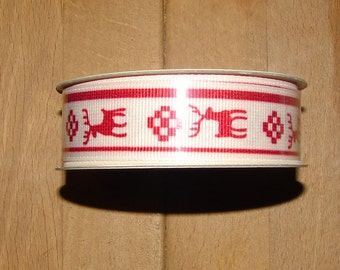 FREE SHIP! Red and Cream Reindeer Grosgrain Ribbon - 7/8 inch X 3 Yards