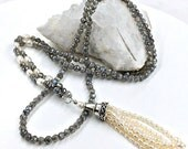 30% OFF SALE Tassel Necklace Luxury Gemstone Mystic Labradorite Tassel Necklace Sterling Silver Ivory Pearl Long Necklace Tassel Jewelry