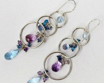 SUMMER SALE Blue Hoop Earrings Sterling Silver Hoop Earring Blue Gemstone Chandelier Hoop Beaded Hoop Boho Chandelier Blue Topaz Long Dangle
