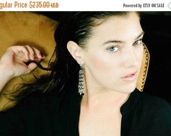 35% FLASH SALE Black Tassel Earrings Wire Wrapped Sterling Silver Mystic Black Spinel Long Earrings Pave Diamond Look CZ Fleur de Lis Post E