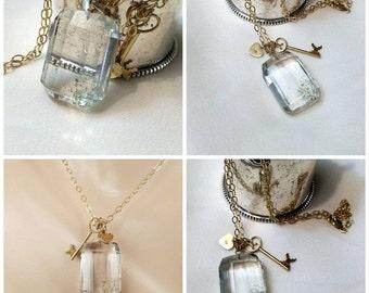 55% OFF SALE Phantom Quartz Pendant Necklace 9kt Gold Key Sterling Vermeil Heart Gold Filled Layering Necklace Clear Crystal Quartz Necklace
