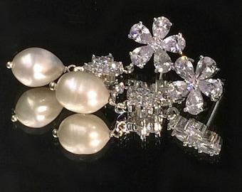 Bridal Jewelry Wedding Earrings Pearl Dangle Earrings Diamond Look Wire Wrapped Pearl CZ Post Dangle Earrings Gala Night Red Carpet Earrings