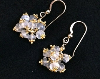 VALENTINES SALE Ceylon Moonstone Cluster Earrings 14kt Gold Fill Wire Wrapped Petite Moonstone Clusters Wedding Earrings Bridesmaid Ivory Ea