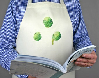 Apron with Brussels Sprouts-Sprouts print-gift for foodie-gift for chef-apron for Christmas-gift for husband-gift for dad-vegetable artwork