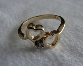 vintage double heart ring 10k  size 5