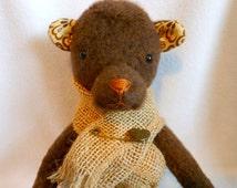 Primitive Teddy Bear with Burlap Shawl, Stuffed Bear, Prim, Plush Felt, Stuffed Animal, Brown and Cream Print Fabric, Old Time, OOAK