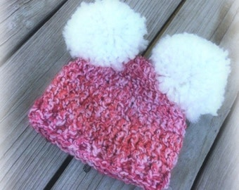Baby Girl Hat, ready to ship, Baby Hat, crochet, handmade, pompom hat, baby, crochet pompom hat, baby girl,Puff hat,crochet hat, pom pom hat