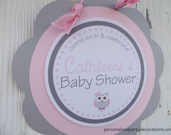 Owl Baby Shower, Owl Party Welcome Sign, Owl Door Sign, Baby Shower Decorations, Baby Shower Sign, You Choose Colors & Saying