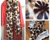 Extremely Unusual and HTF Mid-Century Stamped Fur Stole Scarf