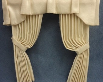 Miniature One inch scale Cream silk double window drapery treatment for the dollhouse