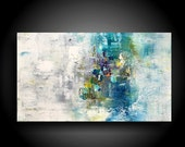 Abstract Painting on Stretched Canvas for Contemporary Home Modern Wall Art Large Painting blue white purple 24 x 40