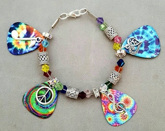 Rainbow Guitar Pick  Charm Bracelet