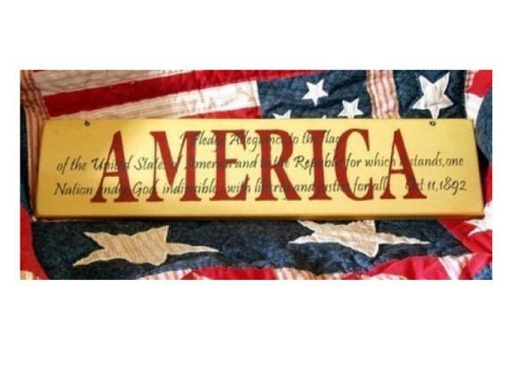 Pledge of Allegiance primitive wood sign