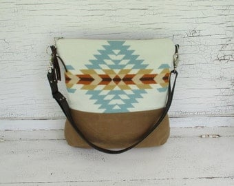 Tribal  Wool & Distressed Leather Tote, Large Purse, Cross Body Purse, Diaper Bag, Computer Bag, Shoulder Bag