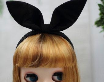 Blythe Headband, Black Bunny Ears, Rabbit Hair Accessory