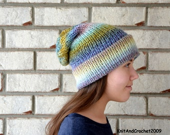 Hand Knit Multi Color Slouchy Hat