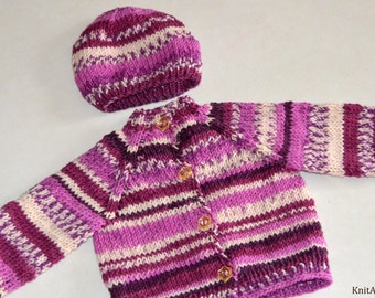 Hand Knitted Wool Multicolored Baby Toddler Sweater Jacket Purple White Stripes 6-12 Months