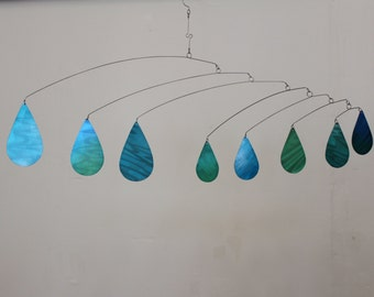 Raindrop Mobile Raining in the Room Kinetic Art Sculpture - Metal Mobile for Low Ceilings - Holographic Effect Mobile by Carolyn Weir, Art