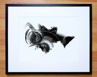 ORIGINAL CONTEMPORARY ART - black and white abstract painting - Framed or Unframed - ooak