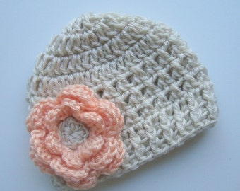 Crochet Baby Hat, Baby Girl Hat, Infant Winter Hat, Crochet Baby Beanie Hat With Flower, Peach and Cream,  Hat with Flower, MADE TO ORDER