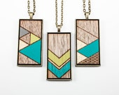 Painted Geometric Pendant - Laser Cut Wood Necklace (Choose Your Pattern) - Turquoise, Lime Green, Metallic Gold