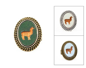 Llama Ring - Laser Engraved Wood in Adjustable Oval Setting (choose your color / custom made jewelry)