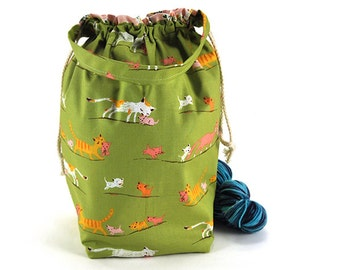 Medium Knitting Crochet Project Bag *with interior yarn guide* - Tiger Lily