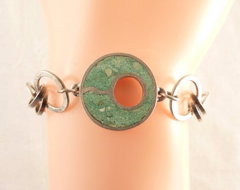 SALE ---- Vintage Crushed Blue Stone Inlay Circle Sterling Links Bracelet