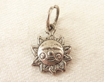 "Vintage Sterling ""Made With a Smile"" Sun Charm"