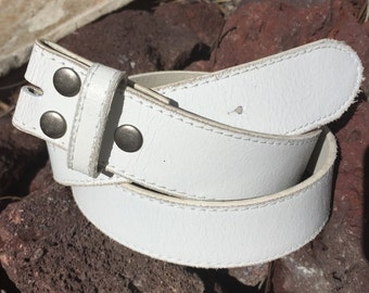 White Distressed Belt Strap