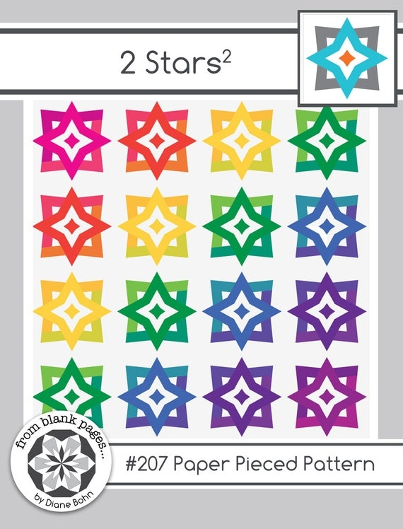 Two Stars Squared #207 Paper Pieced Quilt Pattern PDF - 2 Sizes
