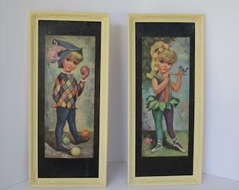 Set of Two Goji Litho prints - Girl and Boy