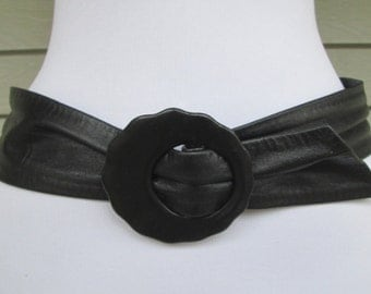 Wide Black Leather Cinch Belt - M