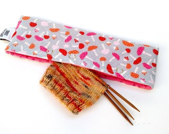 Stitch Holder Point Protector Zipper Pouch Needle Nook - DPN and Circular Project Holder - Mushrooms And Acorns