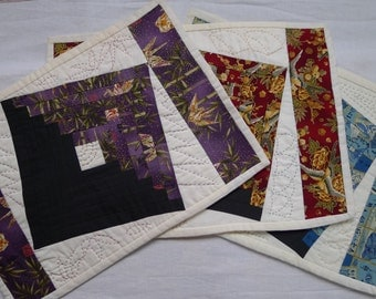 Set of six hand-quilted table (or lap) placemats