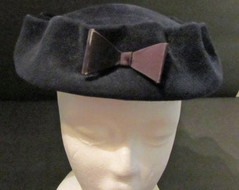 Christine Original Navy Wool Felt  Hat Vintage 50's