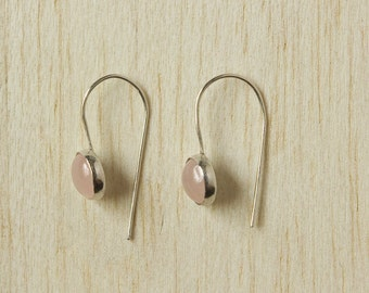 Rose Quartz Gemstone Earrings. Beaded Semi-Precious Stones, Pink, Sterling Silver, Circle, Drop