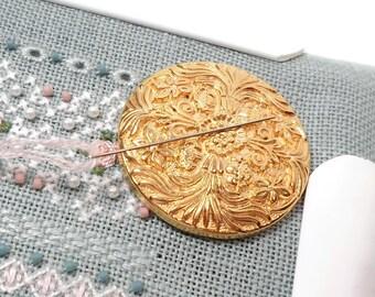 Bright Gold Needle Minder Needle Magnet Cross Stitch Needlepoint Needle Keeper Ornate Magnetic Needle Minder