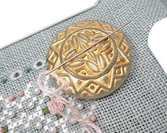 White Gold Needle Minder Needle Magnet Cross Stitch Needlepoint Needle Keeper Ornate Magnetic Needle Minder