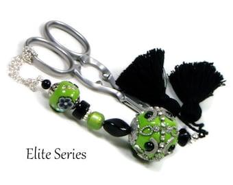 Green Black Handmade Scissor Fob OOAK Beaded Scissor Minder Scissor Keeper Needlework Accessory Sewing Accessory