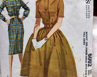Vintage Shirt Dress Sixties Full or Slim Skirt McCalls Pattern 6002 Size 12 #A395 FREE SHIPPING
