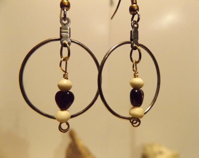 Gold Hoop & Heart Earrings, Bone Bead, Glass Heart, Hoop Earrings, Native American inspiredJewelry
