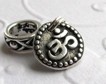 Sanskrit Ohm symbol, big hole bracelet charm, yoga bracelet charm, meditation, om large hole, TierraCast antiqued silver pewter, wisdom