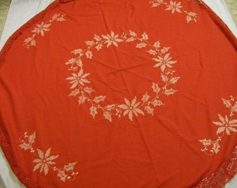 Vintage Christmas Tablecloth, Red Tablecloth, Round Tablecloth, Poinsettia Holly and Berries, Tablecloth with Embroidery