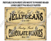 No Paint Printable Easter Signs Sheet ,Print & Decoupage to Wood , Vintage Bunny and Jelly Beans ,  DIY , Wooden , Primitive , Download