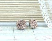 Rose Gold Druzy Studs Rose Gold Earrings Druzy Stud Earrings Rose Gold Studs Hypoallergenic